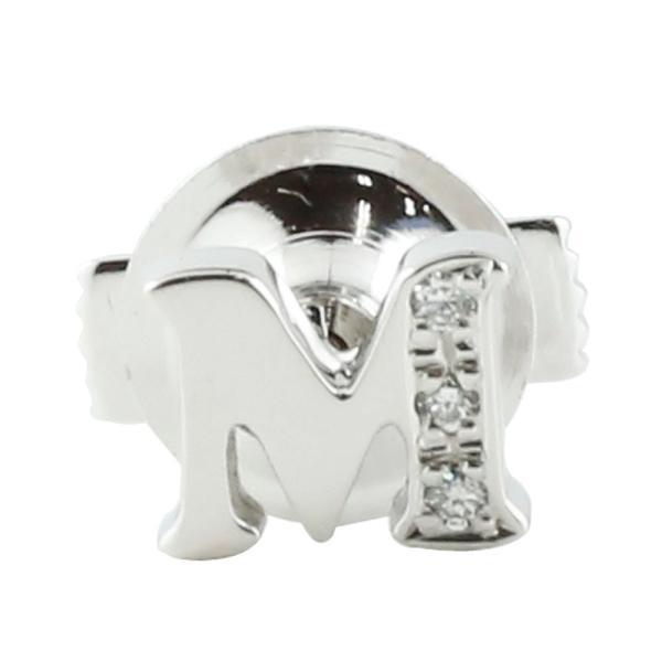 メンズ ピンブローチ ラペルピン イニシャル M ダイヤモンド プラチナ 男性用 タックピン ダイヤ 送料無料 atrus