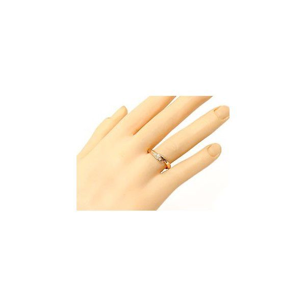 ピンキーリング ダイヤモンドリング ピンクゴールドk18 ダイヤモンド 指輪 18金 ダイヤ 4月誕生石 ストレート 母の日