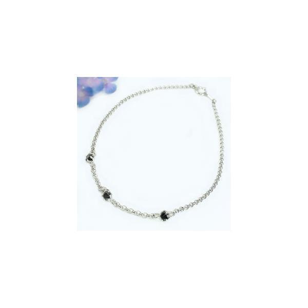 メンズ アンクレット ブラックダイヤモンド ローズカット ホワイトゴールドK18 18金 チェーン ダイヤ 男性用 宝石 送料無料