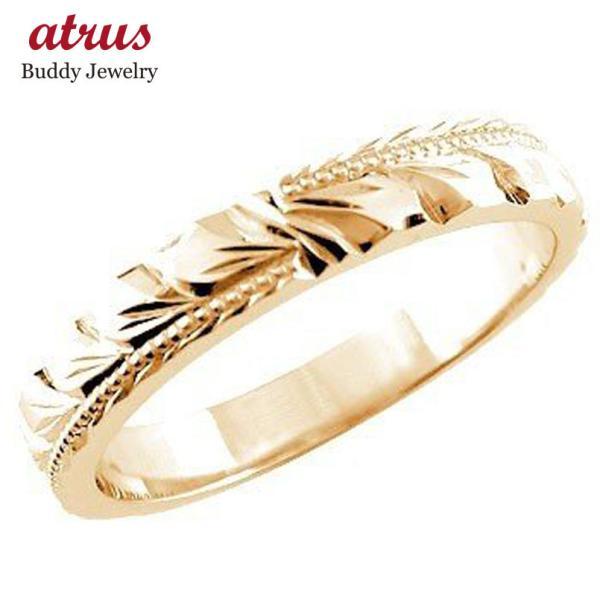 ハワイアンジュエリー ピンキーリング ハワイアンリング 指輪 ピンクゴールドK18 マイレ ハワイ ミル打ち ミル 地金リング 18金 k18pg ストレート 送料無料|atrus|01