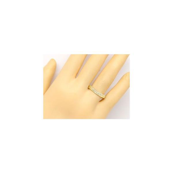 マリッジリング 結婚指輪 ペアリング ダイヤモンド イエローゴールドk18 ミル打ち 結婚式 18金 ダイヤ ストレート カップル メンズ レディース