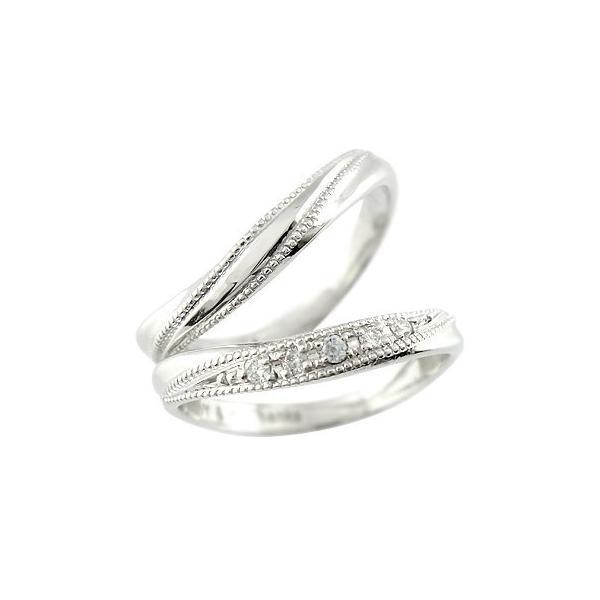 ペアリング ダイヤ ダイヤモンド アクアマリン 結婚指輪 マリッジリング ホワイトゴールドk18 ミル打ち 結婚式 18金 カップル  プレゼント 女性 母の日