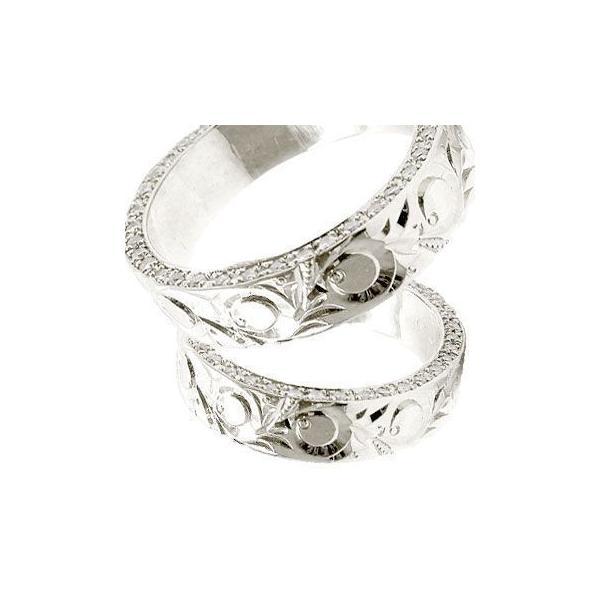 結婚指輪 ペアリング プラチナ ダイヤ ダイヤモンド マリッジリング ハワイアン ストレート カップル メンズ レディース