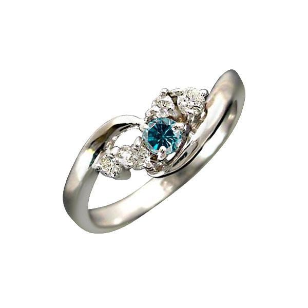 婚約指輪 安い エンゲージリング 指輪 ハードプラチナ950リング ダイヤモンド ブルーダイヤモンド ピンキーリング 一粒 ダイヤモンドリング ストレート 宝石