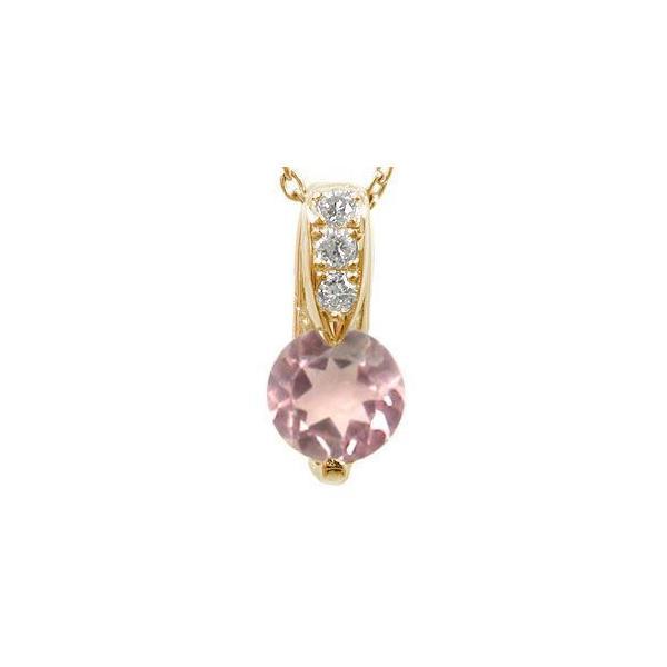 ピンクトルマリン ダイヤモンド ペンダント ネックレス ピンクゴールドK18 ダイヤ 18金 レディース 宝石 母の日