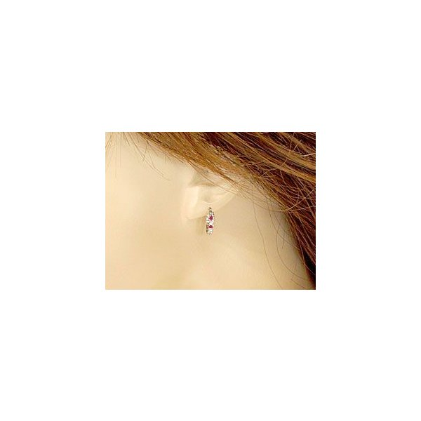 ダイヤモンド ルビー スタッドピアス フープピアス ホワイトゴールドk18 18金 天然石 ダイヤ レディース 宝石 18k ピアス リング 母の日