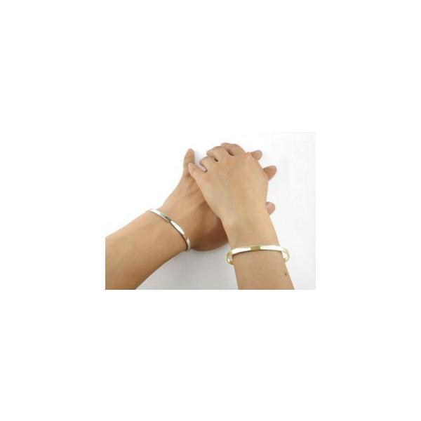 ブレスレット ペアバングル ホワイトゴールドK18 イエローゴールドk18 シンプルバングル メンズMサイズMサイズ 18金 カップル レディース