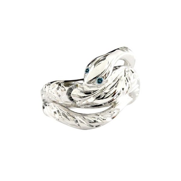 ピンキーリング ハワイアンジュエリー ハワイアン 蛇 リング プラチナリング スネーク ブルーダイヤモンド 指輪 手彫り ハワイアンリング プラチナ ダイヤ pt900