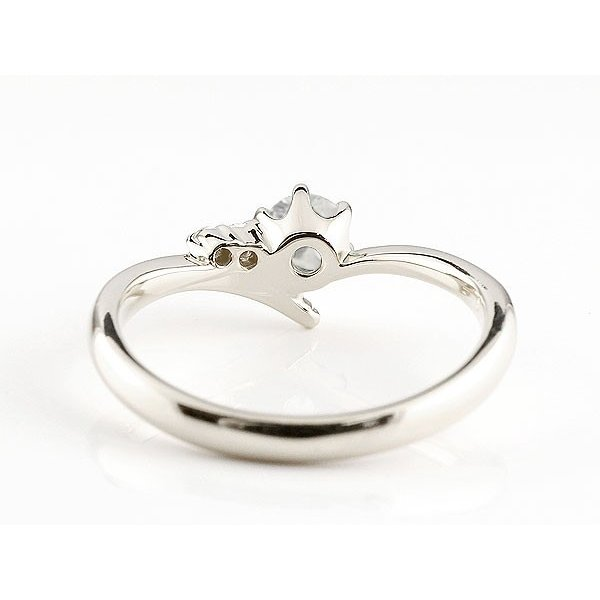 婚約指輪 エンゲージリング ブルームーンストーン ホワイトゴールドk10リング ダイヤモンド 指輪 ピンキーリング 一粒 大粒 k10 レディース 6月誕生石 宝石