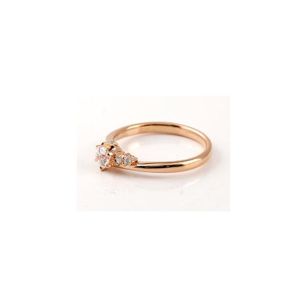 鑑定書付き 婚約指輪  エンゲージリング ダイヤモンド リング 一粒 大粒 VS ピンクゴールドK18 18金 ダイヤ ストレート  プレゼント 女性 ペア 母の日