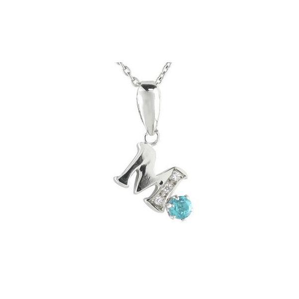 ネックレス イニシャル ネーム M 名前 ネーム イニシャル ネーム ブルートパーズダイヤモンド プラチナ 11月の誕生石 チェーン 人気 ダイヤ 送料無料|atrus
