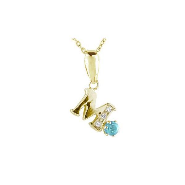 ネックレス イニシャル ネーム M 名前 ネーム イニシャル ネーム ブルートパーズダイヤモンド イエローゴールドK1811月の誕生石 チェーン 人気 18金 ダイヤ|atrus