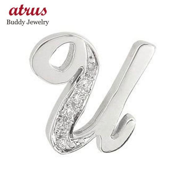 ピンブローチ ダイヤモンド ホワイトゴールドK18 ラペルピン イニシャルブローチ U ダイヤ 0.06ct 人気ブローチ 筆記体 18金 タックピン 母の日
