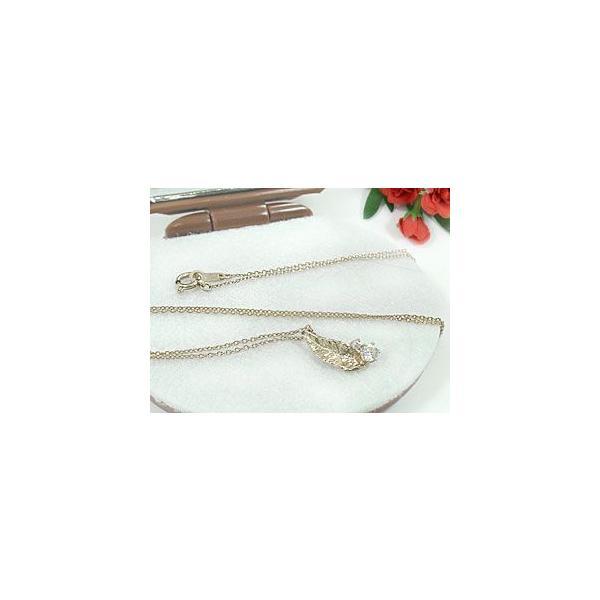フェザー 羽 ペアネックレス 一粒ダイヤモンド ホワイトゴールドK18 チェーン 人気 18金 ダイヤ カップル 母の日