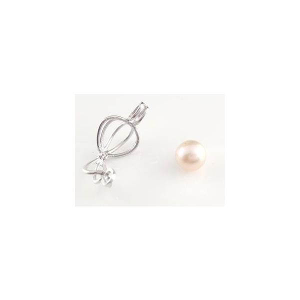 パールペンダント 真珠 フォーマル パール 本真珠 かご ペンダントネックレス プラチナ レディース 母の日