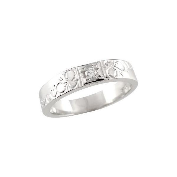 ピンキーリング ダイヤモンド プラチナリング 指輪 おシャレな手作りリング ダイヤ 4月誕生石 ストレート 送料無料