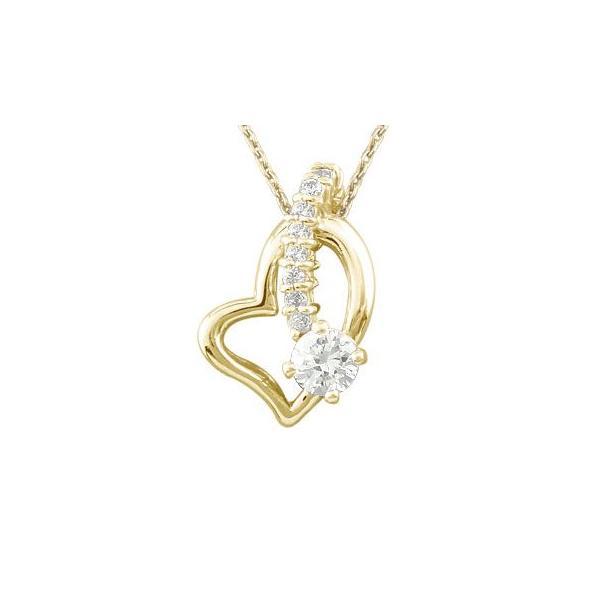ダイヤモンド オープンハート ダイヤ 流れ星 ペンダントネックレス イエローゴールドk18 18金 レディース 母の日