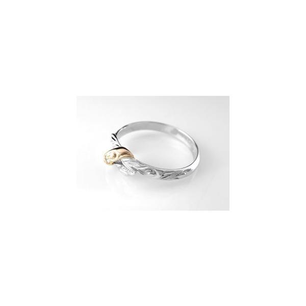 ピンキーリング ハワイアンジュエリー リング 一粒 指輪 ホワイトゴールドk18 ピンクゴールドk18 コンビリング ハワイアンリング 18金 k18wg k18pg ストレート|atrus|02