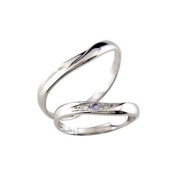 結婚指輪 ペアリング プラチナ ダイヤ ダイヤモンドS字 刻印 マリッジリング アメジスト V字 結婚式 ウェーブリング カップル メンズ レディース