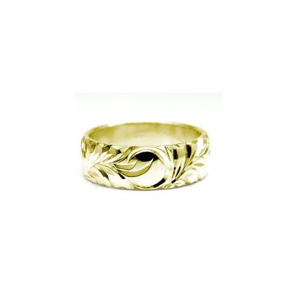 ハワイアンジュエリー 結婚指輪 マリッジリング ペアリング イエローゴールドk18 シンプル 人気  プレゼント 女性 母の日