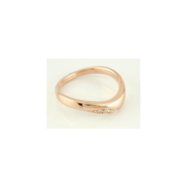 S字 マリッジリング V字 結婚指輪 ペアリング ダイヤモンド ピンクゴールドk18 結婚式 18金 ウェーブリング ダイヤ カップル メンズ レディース