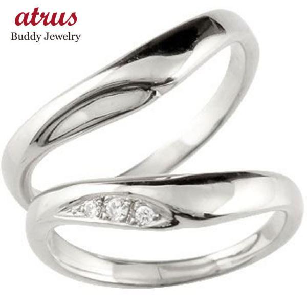 結婚指輪 安い ペアリング プラチナ ダイヤモンド V字 結婚指輪 マリッジリング 結婚式 ウェーブリング ダイヤ カップル  プレゼント 女性 母の日