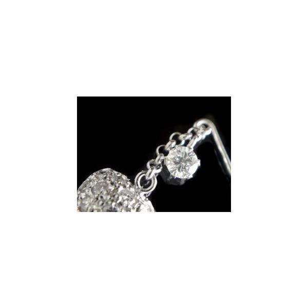 ピアス ゆれる ハート ダイヤモンドピアス パヴェ フックピアス ホワイトゴールドk18 18金 天然石 ダイヤ レディース 宝石 18k 揺れるピアス 母の日