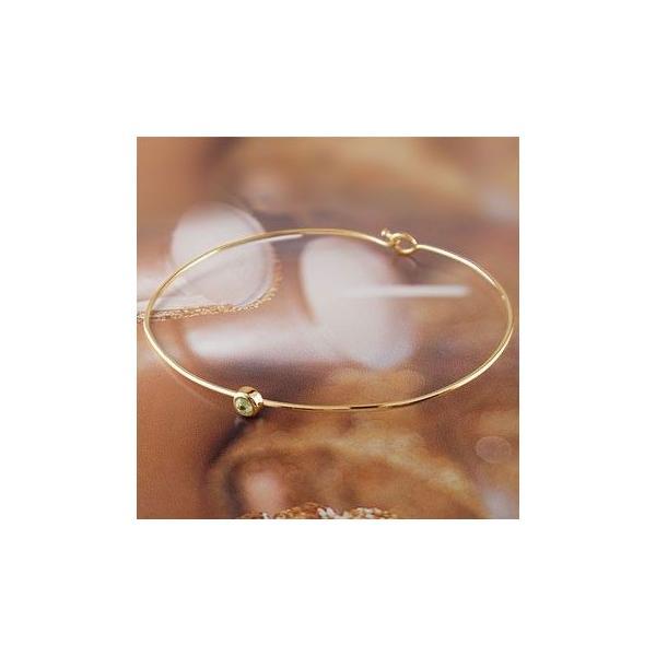 18金 ブレス バングル レディース ブレスレット ペリドット 一粒 ゴールド 18k イエローゴールドk18 8月誕生石 シンプル 宝石 送料無料