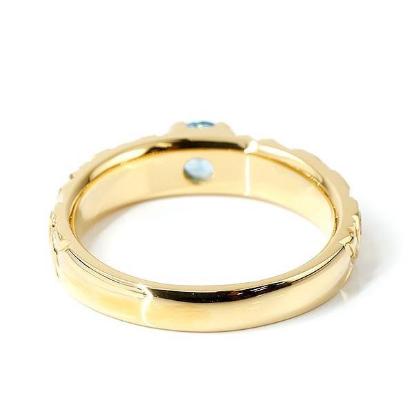 ハワイアンジュエリー リング ブルートパーズ イエローゴールドk10 指輪 幅広 一粒 大粒 ハワイアン マイレ スクロール 10金 エンゲージリング レディース