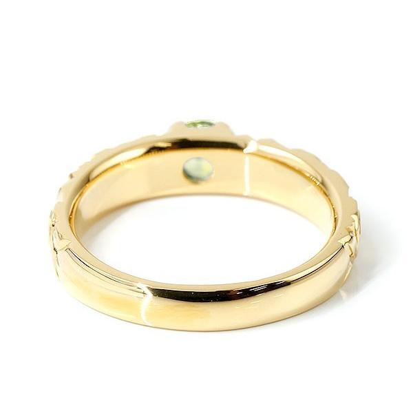 ハワイアンジュエリー リング ペリドット イエローゴールドk10 指輪 幅広 一粒 大粒 ハワイアン マイレ スクロール 8月誕生石 10金 エンゲージリング レディース