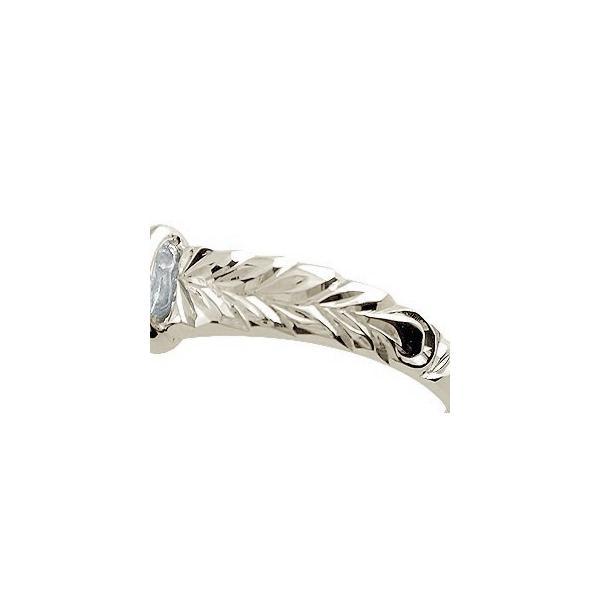 ピンキーリング ハワイアンジュエリー アクアマリン リング 指輪 ホワイトゴールドk18 18金 ストレート 宝石 母の日