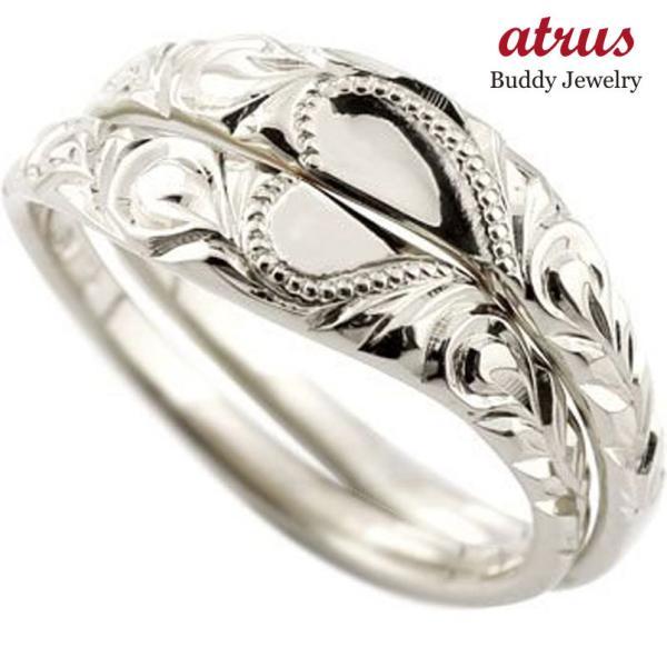 結婚指輪 ハワイアン ペアリング ハート 刻印 ホワイトゴールドk18 地金リング 18金 k18wg ストレート カップル シンプル 人気  プレゼント 女性 atrus