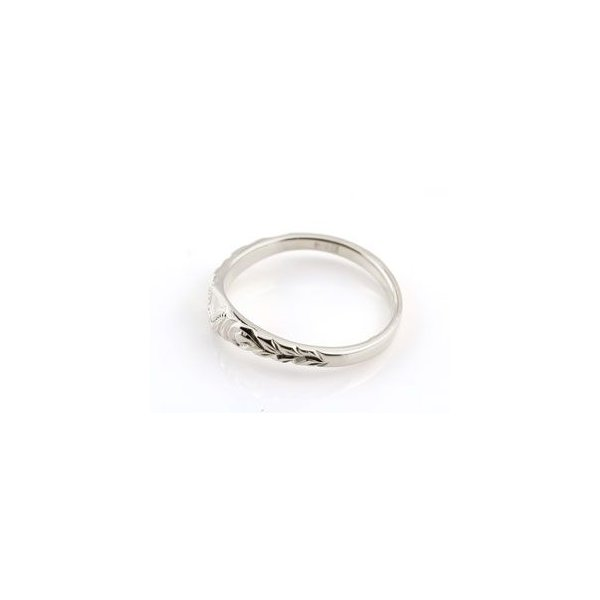 結婚指輪 ハワイアン ペアリング ハート 刻印 ホワイトゴールドk18 地金リング 18金 k18wg ストレート カップル シンプル 人気  プレゼント 女性 atrus 02