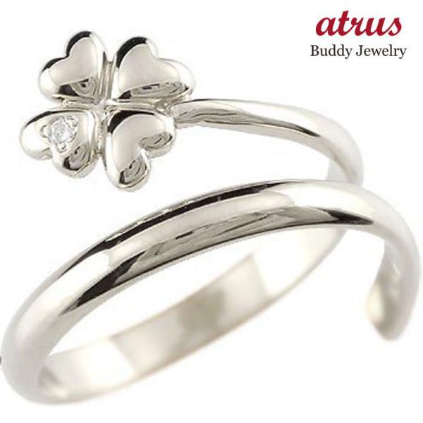 クローバー キュービックジルコニア リング 指輪 四葉 シルバー ストレート 2.3 母の日