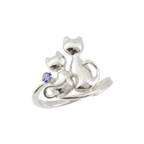 猫 リング アメジスト 指輪 シルバー 2月誕生石 ストレート 宝石 母の日