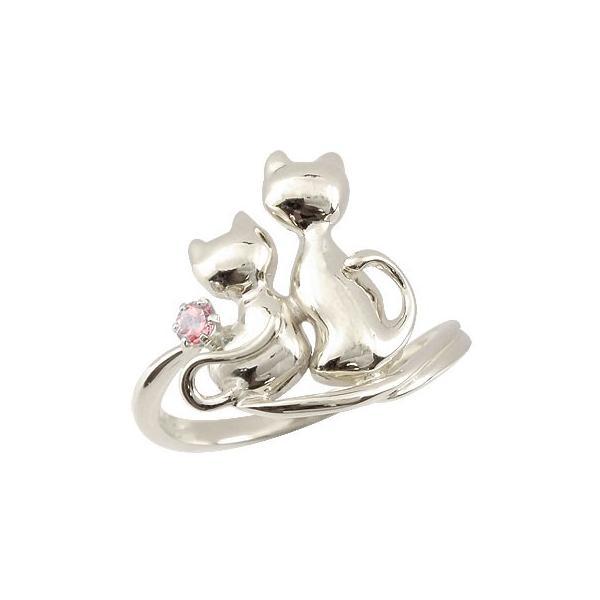 ピンキーリング 猫 プラチナ リング ピンクトルマリン 指輪 10月誕生石 ストレート 宝石 母の日