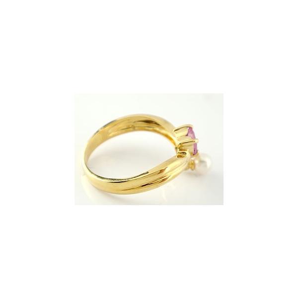 ピンキーリング ハート リング ピンクトルマリン パール 指輪 イエローゴールドk18 18金 6月誕生石 真珠 フォーマル 母の日