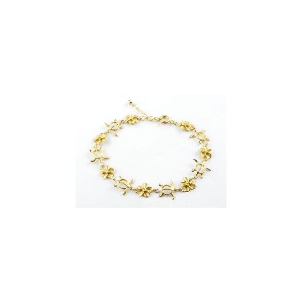 ペアブレスレット ハワイアンジュエリー ホワイトゴールドk18 イエローゴールドk18 ダイヤモンド 亀 花 18金 ダイヤ 母の日