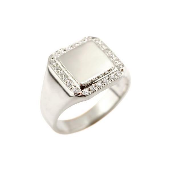メンズ プラチナ リング ダイヤモンド 印台 指輪ピンキーリング ダイヤ ストレート 男性用 送料無料|atrus