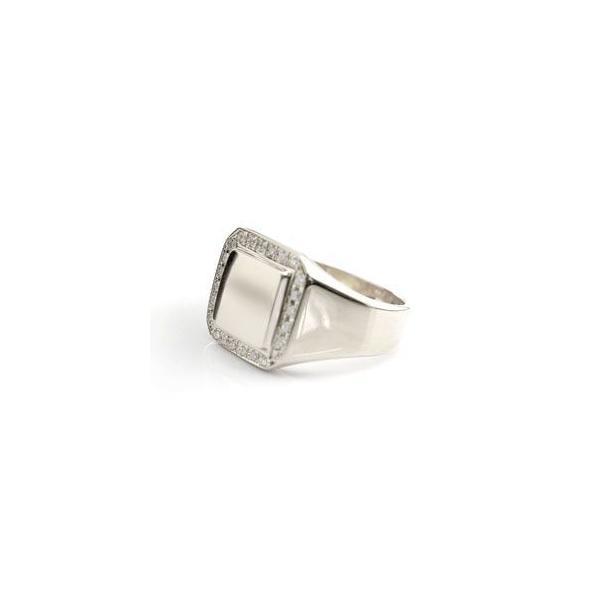メンズ プラチナ リング ダイヤモンド 印台 指輪ピンキーリング ダイヤ ストレート 男性用 送料無料|atrus|02