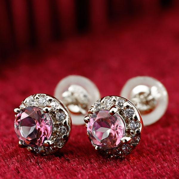 ピアス 18金 ピンクトルマリン ダイヤモンド 大粒 取り巻き スタッド ホワイトゴールドk18 18k 10月誕生石 レディース ダイヤ 宝石  送料無料