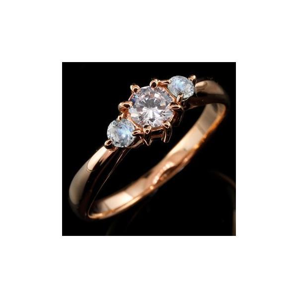 ピンキーリング ダイヤモンド リング ブルームーンストーン 指輪 大粒 ダイヤ ピンクゴールドK18 18金 ダイヤモンドリング ダイヤ ストレート 宝石 母の日