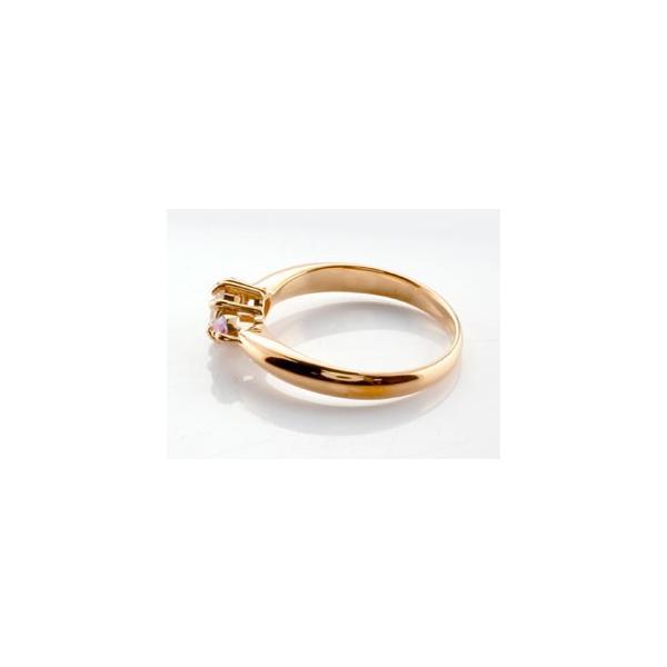 ピンキーリング ダイヤモンド リング ピンクサファイア 指輪 大粒 ダイヤ ピンクゴールドK18 18金 ダイヤモンドリング ダイヤ ストレート 宝石 母の日