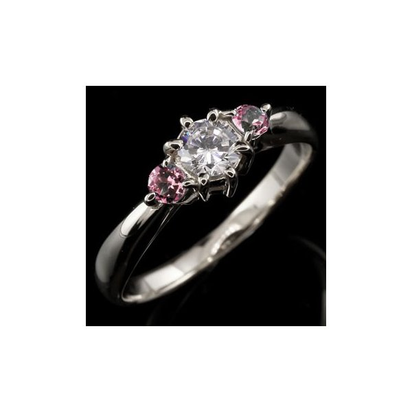 ピンキーリング ダイヤモンド リング ピンクトルマリン 指輪 大粒 ダイヤ ホワイトゴールドK18 18金 ダイヤモンドリング ダイヤ ストレート 宝石 母の日