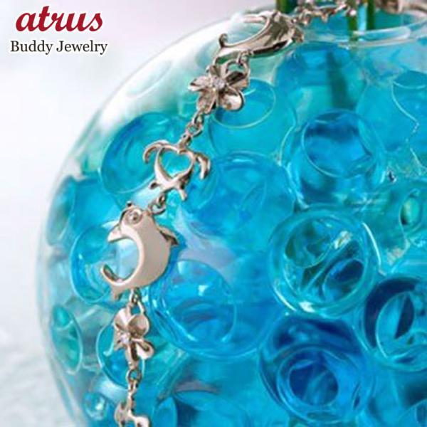 ブレスレット ハワイアンジュエリー ダイヤモンド ホワイトゴールドk18 亀 花 イルカ 18金 k18wg ダイヤ 母の日