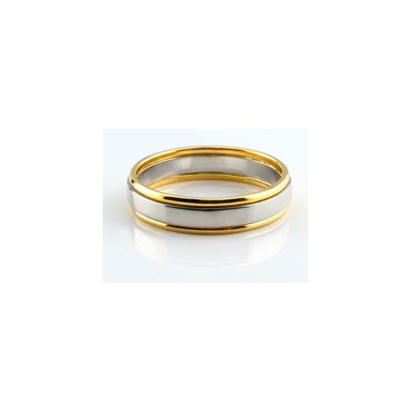 ピンキーリング プラチナ リング 指輪 イエローゴールドk18 コンビ 地金リング 宝石なし 18金 ストレート 母の日