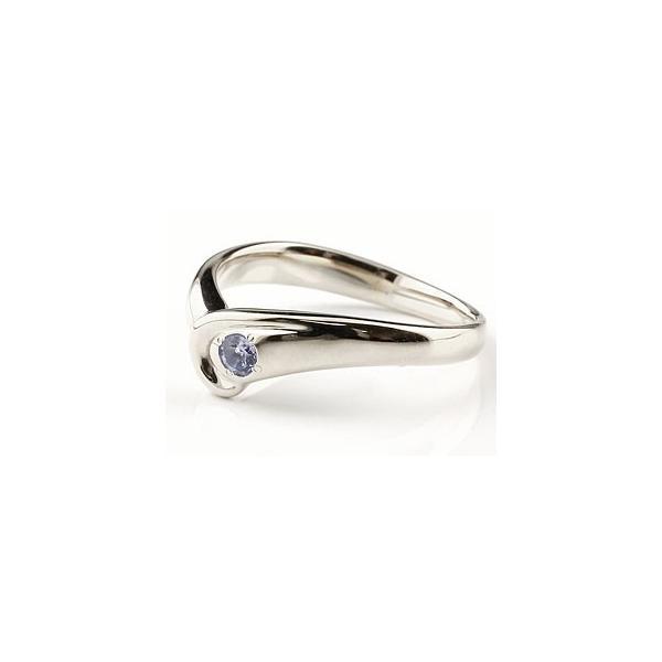 アイオライト リング 指輪 ピンキーリング V字 シルバー 一粒 シンプル レディース ウェーブリング 宝石 母の日