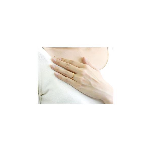 V字 ペアリング 人気 結婚指輪 マリッジリング 地金リング ピンクゴールドk18 18金 ブイ字 結婚式 シンプル 宝石なし ウェーブリング カップル 母の日