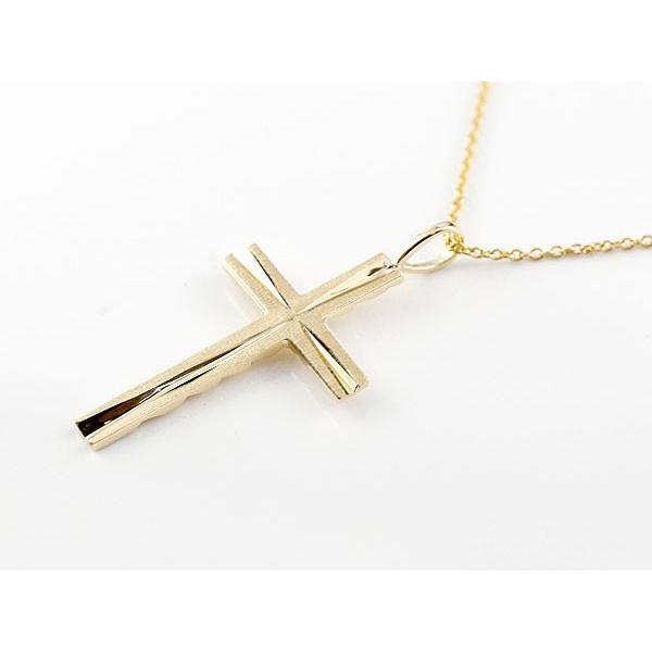 ハワイアンジュエリー ペアネックレス クロス 十字架 イエローゴールドk18 ペンダント ミル打ち チェーン 18金 カップル  プレゼント 女性 母の日