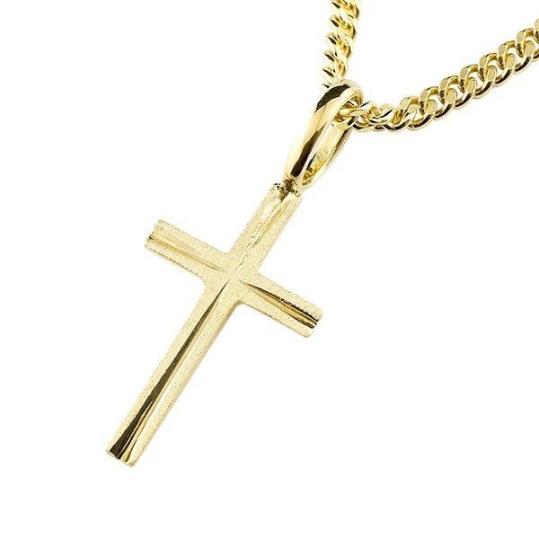 喜平用 キヘイ メンズ クロス ネックレス ペンダント 十字架 イエローゴールドk18 地金 シンプル ホーニング加工 マット仕上げ18金 男性用 18k あすつく|atrus